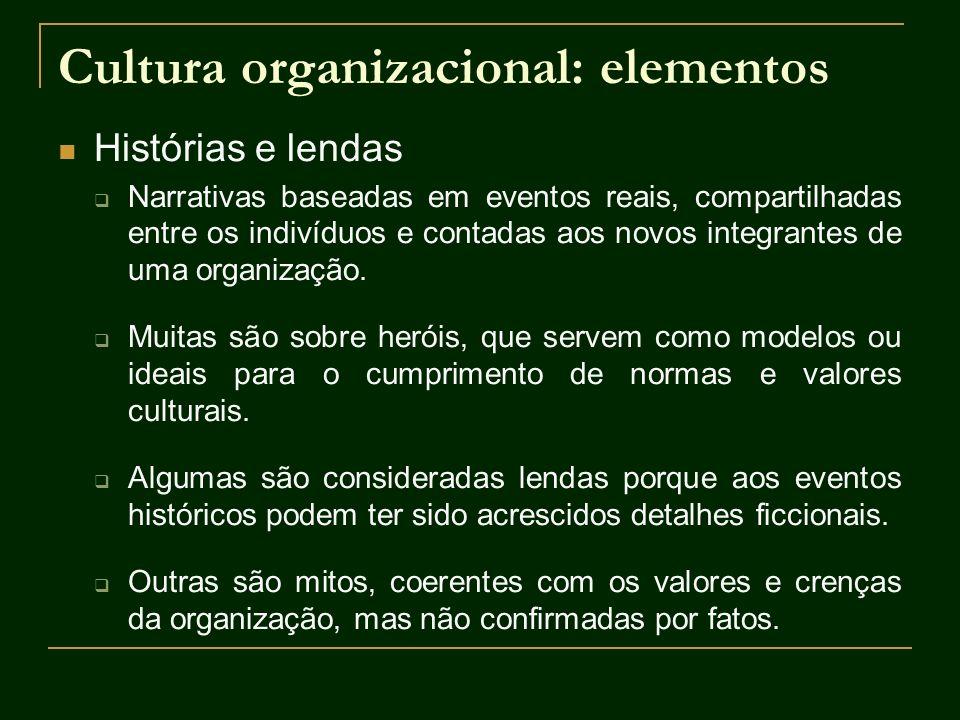 Cultura organizacional: elementos Histórias e lendas Narrativas baseadas em eventos reais, compartilhadas entre os indivíduos e contadas aos novos int