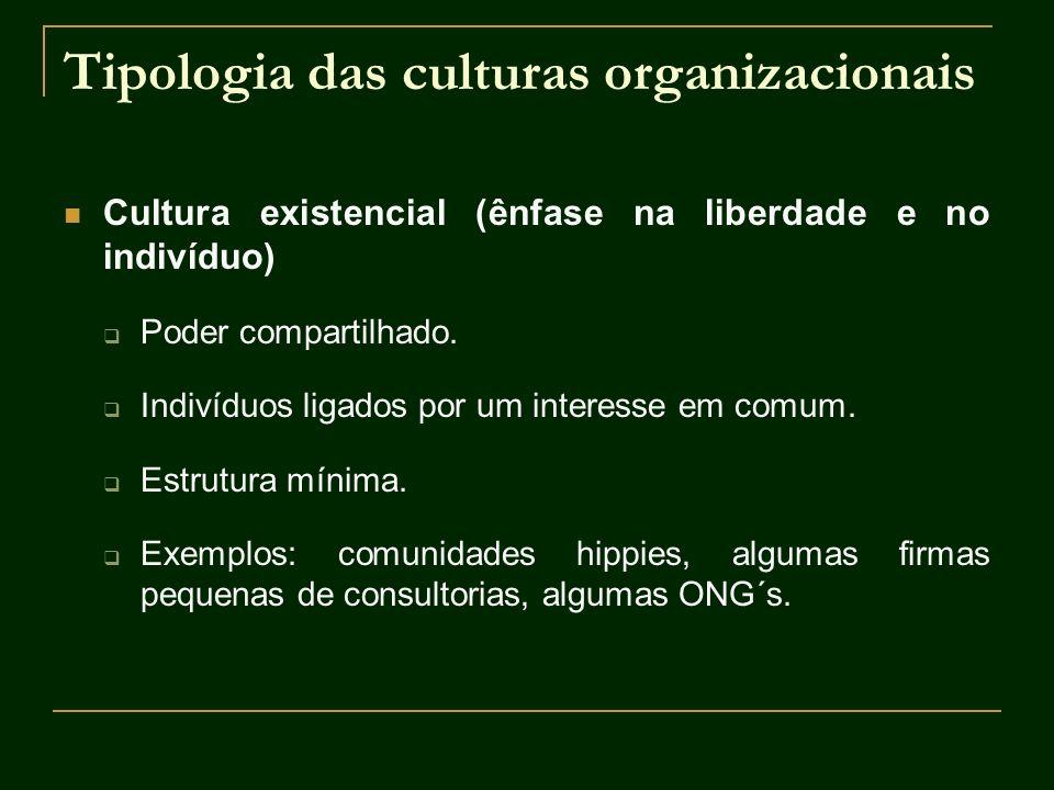 Tipologia das culturas organizacionais Cultura existencial (ênfase na liberdade e no indivíduo) Poder compartilhado. Indivíduos ligados por um interes