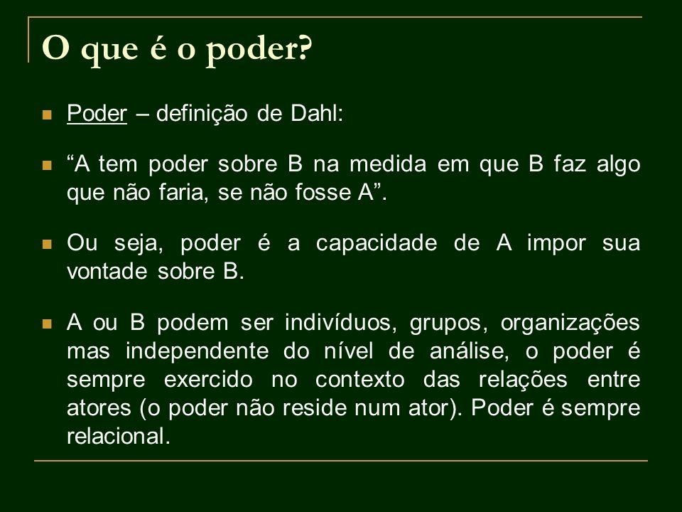 O que é o poder? Poder – definição de Dahl: A tem poder sobre B na medida em que B faz algo que não faria, se não fosse A. Ou seja, poder é a capacida