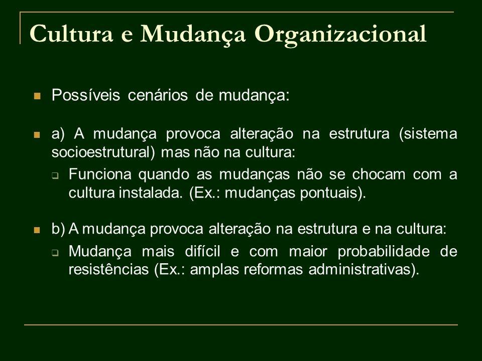 Cultura e Mudança Organizacional Possíveis cenários de mudança: a) A mudança provoca alteração na estrutura (sistema socioestrutural) mas não na cultu