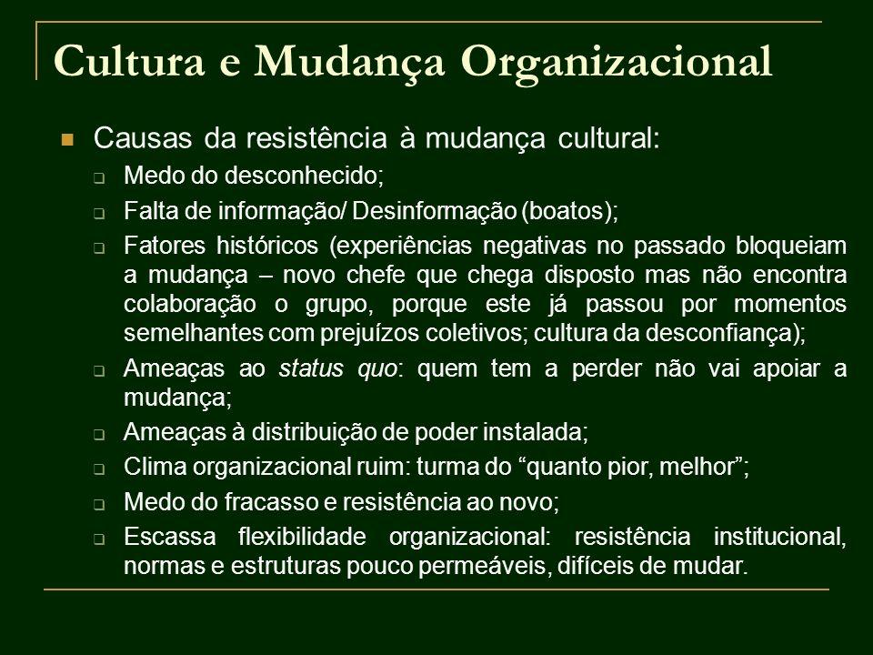 Cultura e Mudança Organizacional Causas da resistência à mudança cultural: Medo do desconhecido; Falta de informação/ Desinformação (boatos); Fatores
