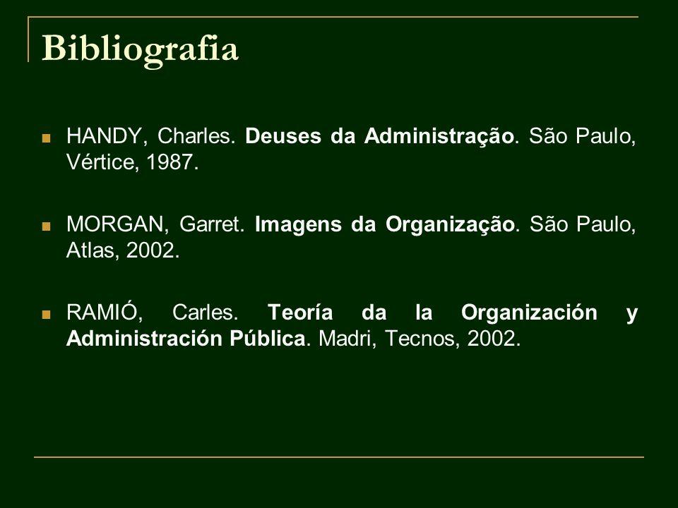 Bibliografia HANDY, Charles. Deuses da Administração. São Paulo, Vértice, 1987. MORGAN, Garret. Imagens da Organização. São Paulo, Atlas, 2002. RAMIÓ,