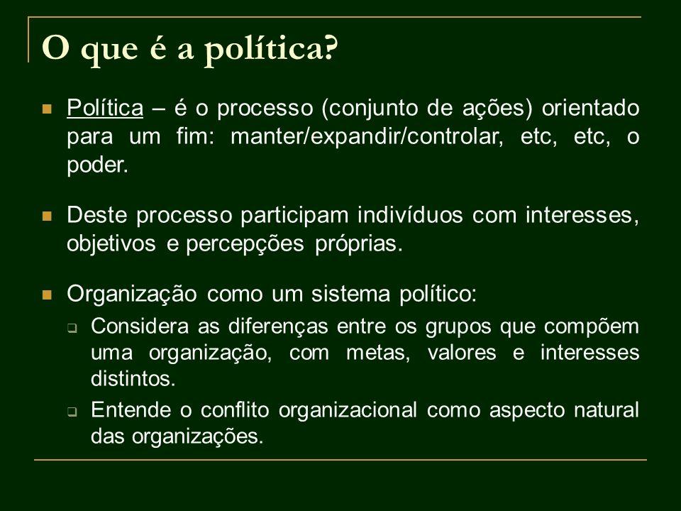 O que é a política? Política – é o processo (conjunto de ações) orientado para um fim: manter/expandir/controlar, etc, etc, o poder. Deste processo pa