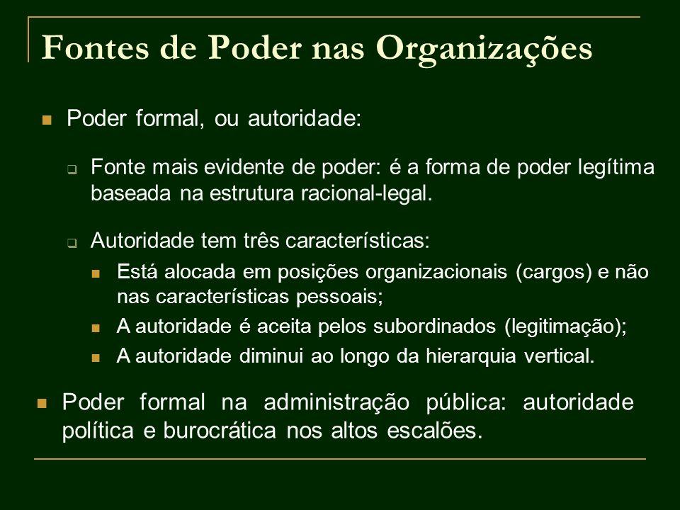 Fontes de Poder nas Organizações Poder formal, ou autoridade: Fonte mais evidente de poder: é a forma de poder legítima baseada na estrutura racional-