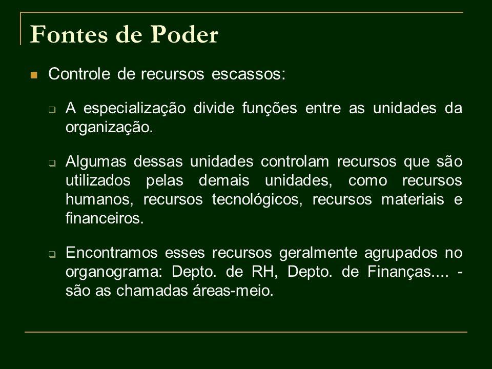 Fontes de Poder Controle de recursos escassos: A especialização divide funções entre as unidades da organização. Algumas dessas unidades controlam rec