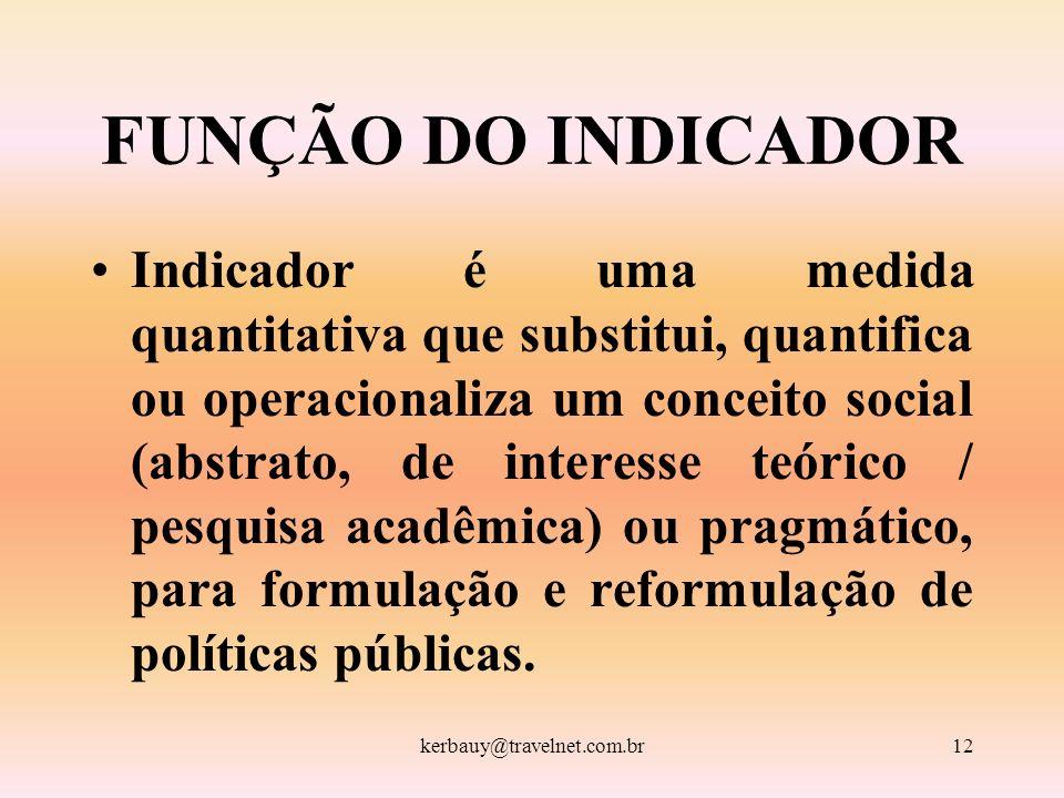 kerbauy@travelnet.com.br12 FUNÇÃO DO INDICADOR Indicador é uma medida quantitativa que substitui, quantifica ou operacionaliza um conceito social (abs