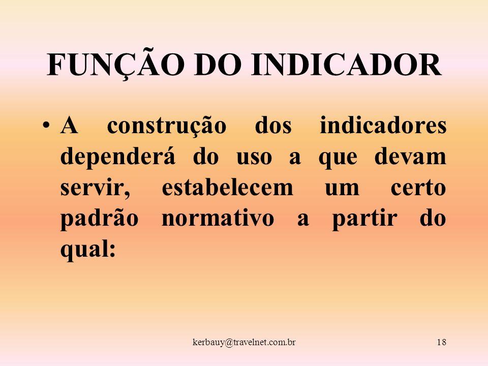 kerbauy@travelnet.com.br18 FUNÇÃO DO INDICADOR A construção dos indicadores dependerá do uso a que devam servir, estabelecem um certo padrão normativo