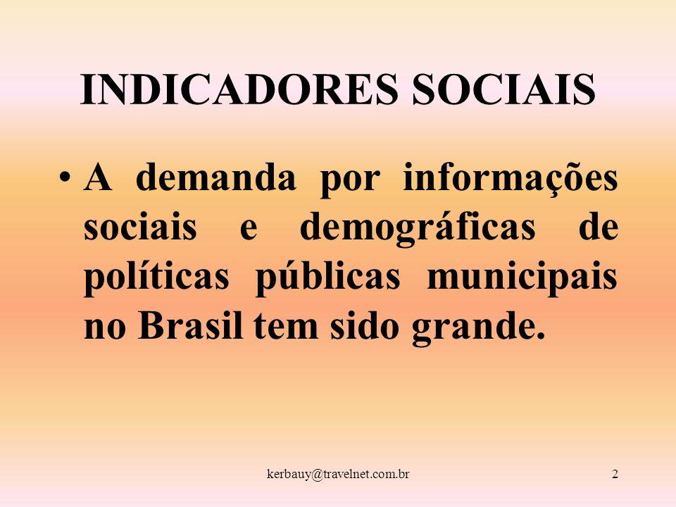 2 INDICADORES SOCIAIS A demanda por informações sociais e demográficas de políticas públicas municipais no Brasil tem sido grande.