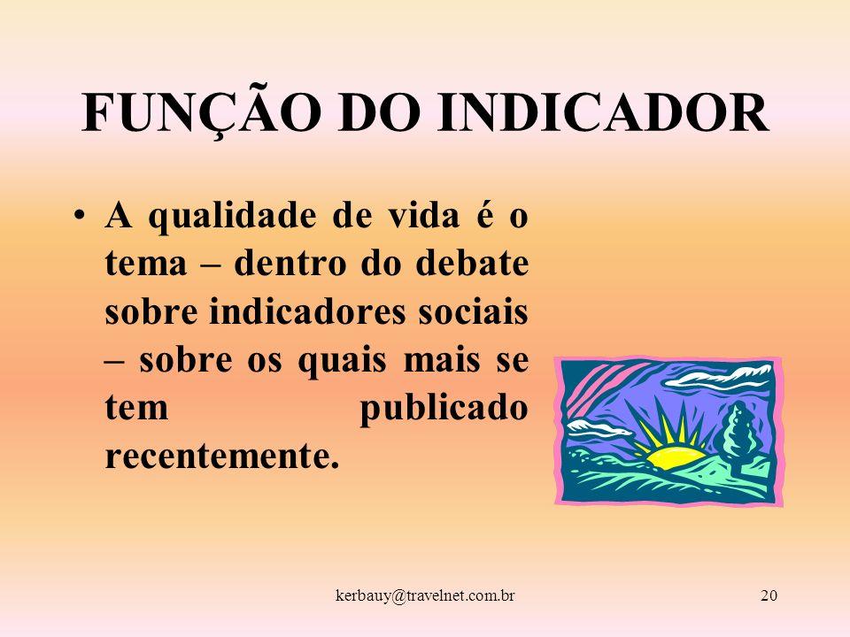 kerbauy@travelnet.com.br20 FUNÇÃO DO INDICADOR A qualidade de vida é o tema – dentro do debate sobre indicadores sociais – sobre os quais mais se tem