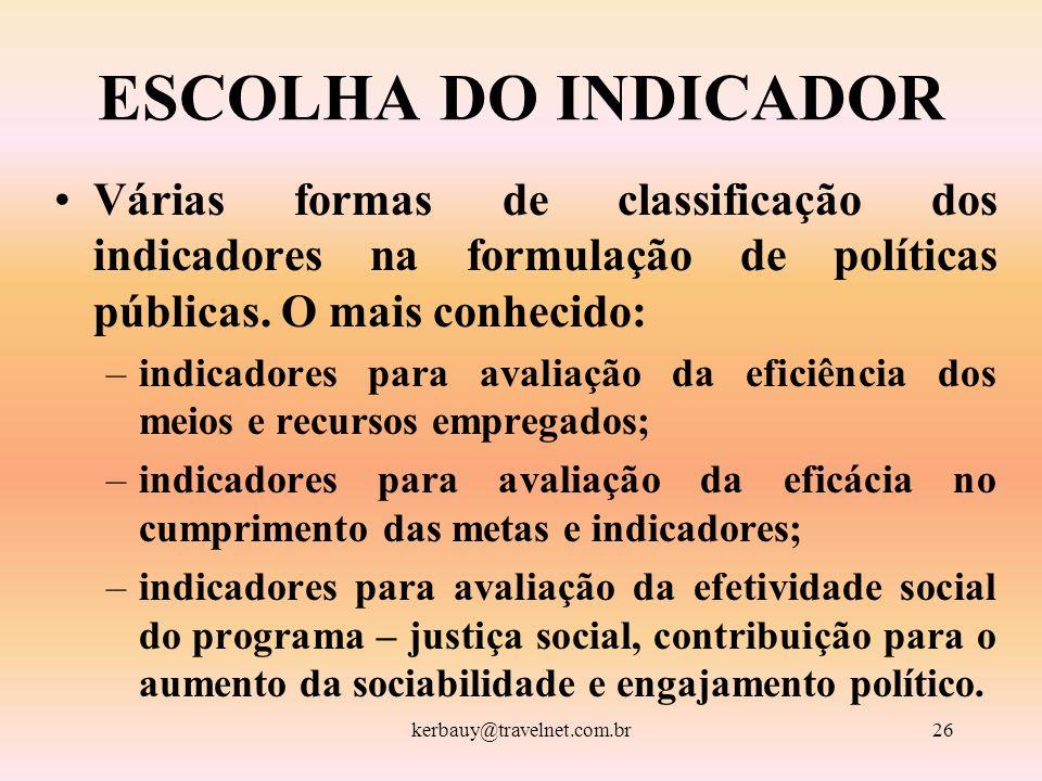 kerbauy@travelnet.com.br26 ESCOLHA DO INDICADOR Várias formas de classificação dos indicadores na formulação de políticas públicas. O mais conhecido:
