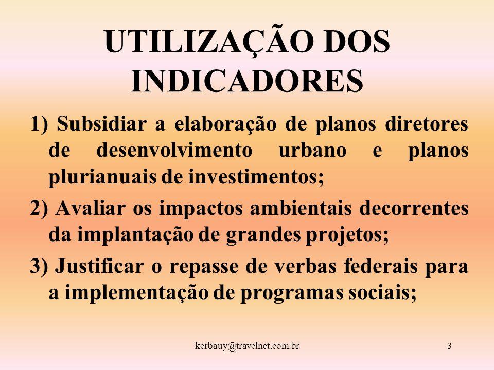 kerbauy@travelnet.com.br3 UTILIZAÇÃO DOS INDICADORES 1) Subsidiar a elaboração de planos diretores de desenvolvimento urbano e planos plurianuais de i