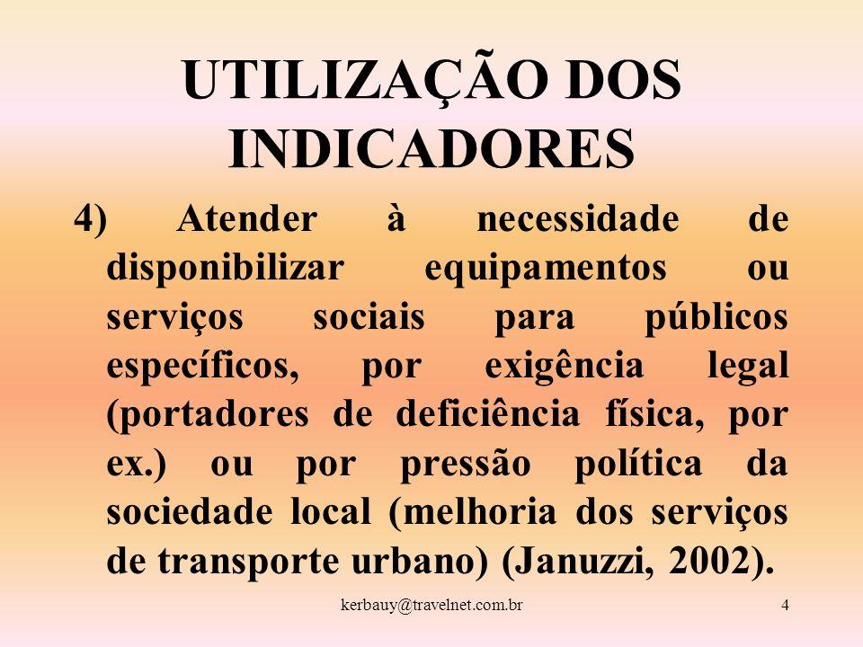 kerbauy@travelnet.com.br4 UTILIZAÇÃO DOS INDICADORES 4) Atender à necessidade de disponibilizar equipamentos ou serviços sociais para públicos específ