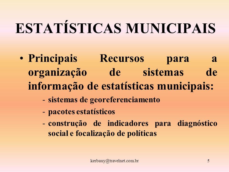 kerbauy@travelnet.com.br5 ESTATÍSTICAS MUNICIPAIS Principais Recursos para a organização de sistemas de informação de estatísticas municipais: -sistem
