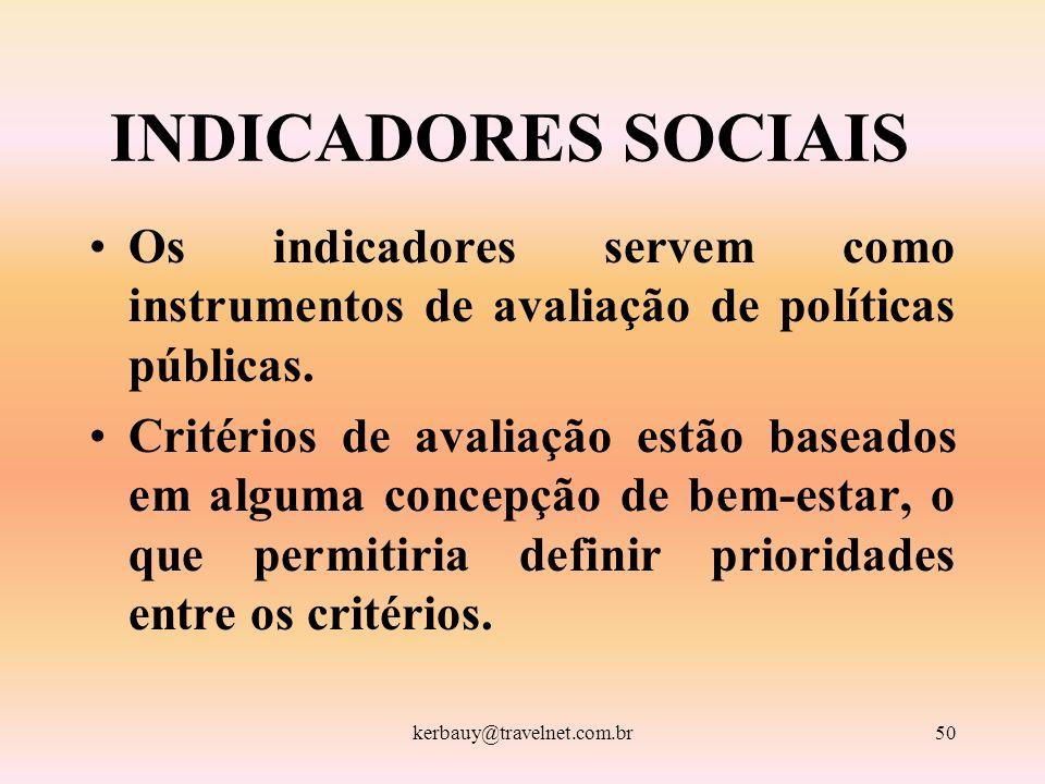 kerbauy@travelnet.com.br50 INDICADORES SOCIAIS Os indicadores servem como instrumentos de avaliação de políticas públicas. Critérios de avaliação estã