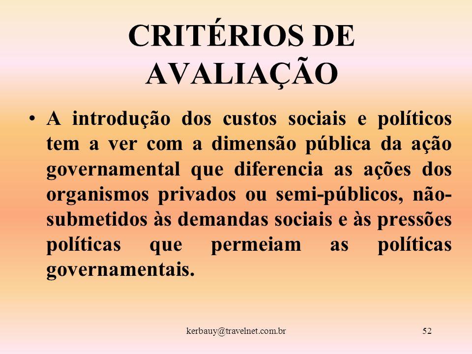 kerbauy@travelnet.com.br52 CRITÉRIOS DE AVALIAÇÃO A introdução dos custos sociais e políticos tem a ver com a dimensão pública da ação governamental q