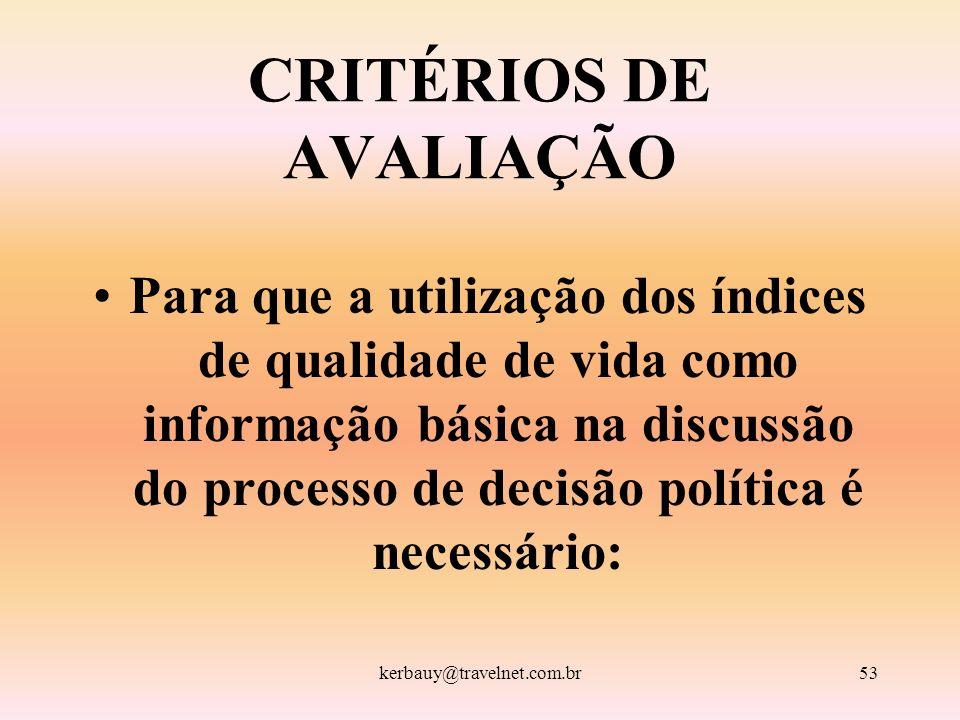 kerbauy@travelnet.com.br53 CRITÉRIOS DE AVALIAÇÃO Para que a utilização dos índices de qualidade de vida como informação básica na discussão do proces