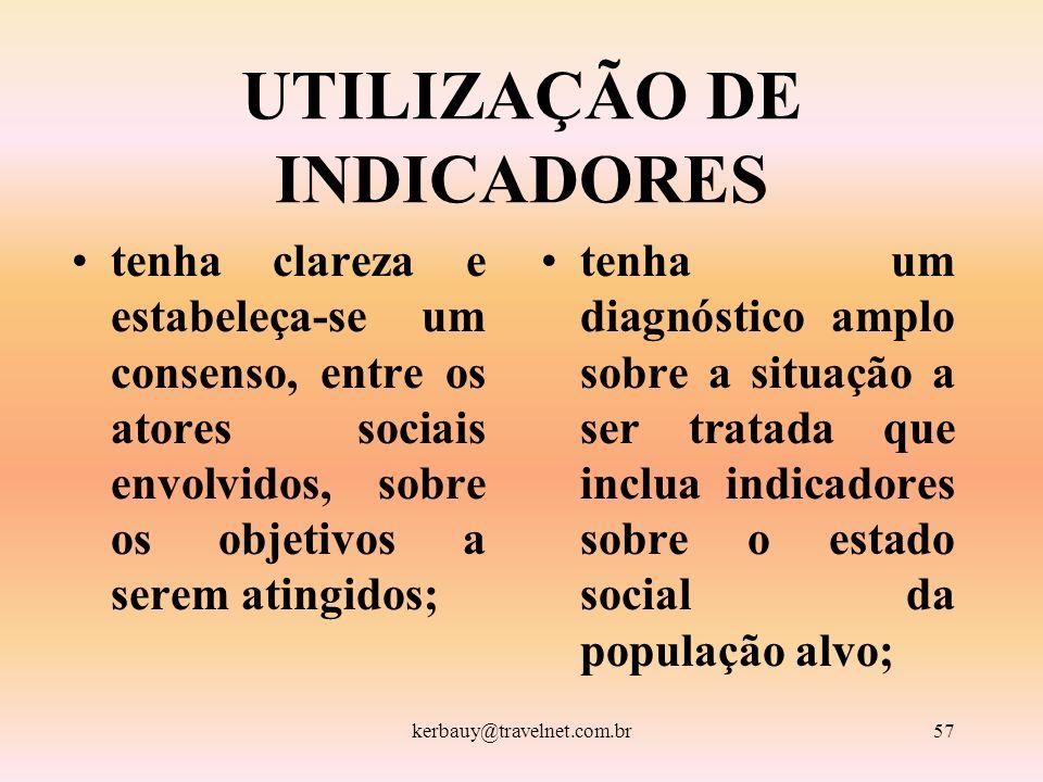 kerbauy@travelnet.com.br57 UTILIZAÇÃO DE INDICADORES tenha clareza e estabeleça-se um consenso, entre os atores sociais envolvidos, sobre os objetivos