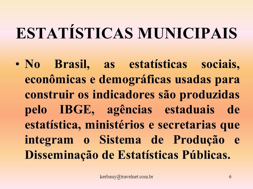 kerbauy@travelnet.com.br6 ESTATÍSTICAS MUNICIPAIS No Brasil, as estatísticas sociais, econômicas e demográficas usadas para construir os indicadores s