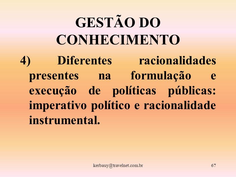 kerbauy@travelnet.com.br67 GESTÃO DO CONHECIMENTO 4) Diferentes racionalidades presentes na formulação e execução de políticas públicas: imperativo po