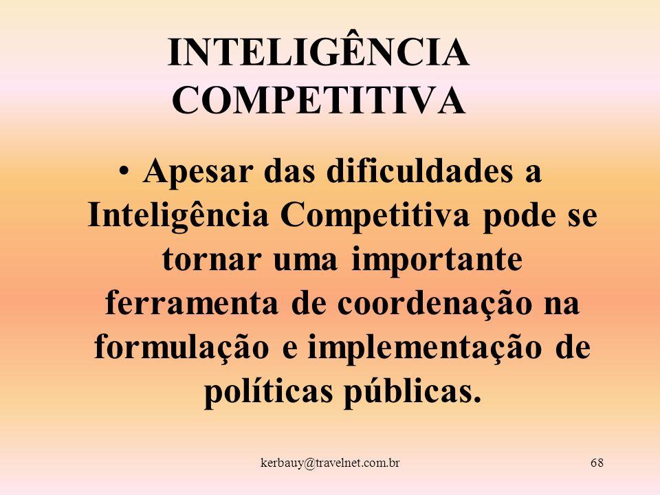 kerbauy@travelnet.com.br68 INTELIGÊNCIA COMPETITIVA Apesar das dificuldades a Inteligência Competitiva pode se tornar uma importante ferramenta de coo