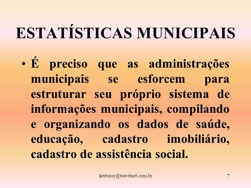 kerbauy@travelnet.com.br7 ESTATÍSTICAS MUNICIPAIS É preciso que as administrações municipais se esforcem para estruturar seu próprio sistema de inform