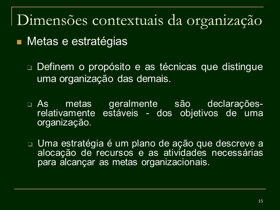 15 Dimensões contextuais da organização Metas e estratégias Definem o propósito e as técnicas que distingue uma organização das demais. As metas geral