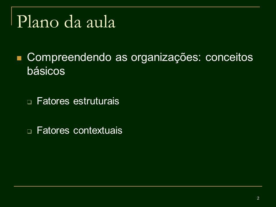 2 Plano da aula Compreendendo as organizações: conceitos básicos Fatores estruturais Fatores contextuais