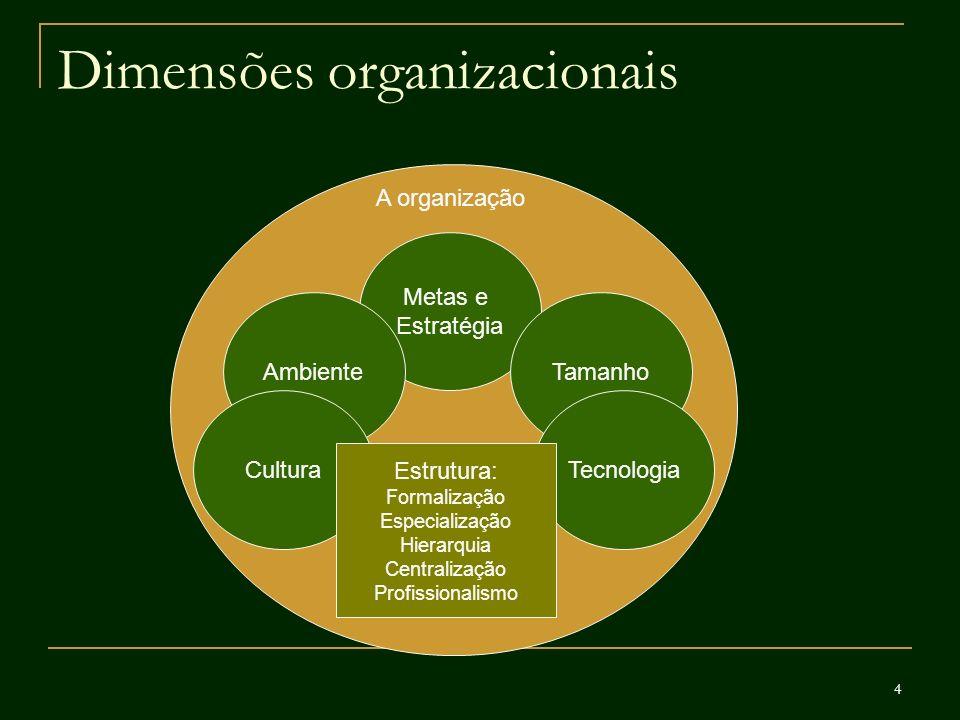 5 Dimensões estruturais da organização Formalização Diz respeito ao volume de documentação escrita em uma organização: procedimentos, descrições de cargos, regulamentos, manuais...