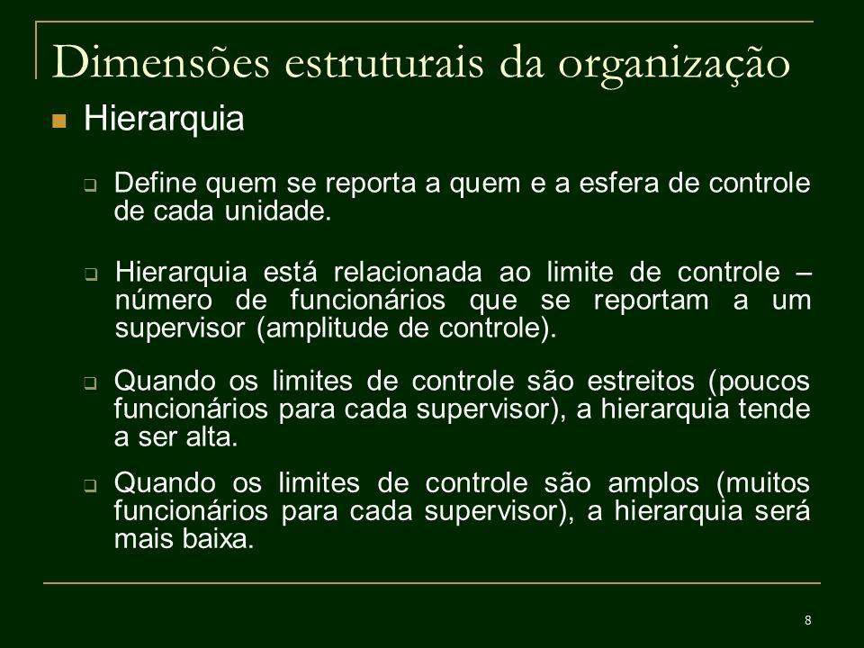 9 Dimensões estruturais da organização Centralização Refere-se ao nível hierárquico que tem autoridade para tomar uma decisão.
