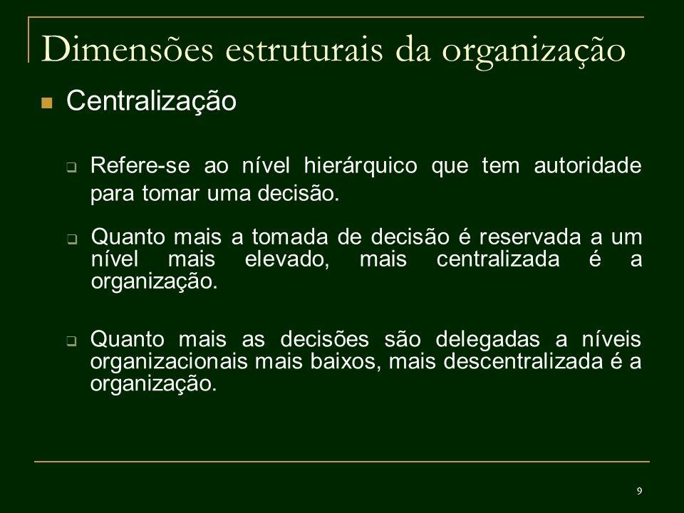 9 Dimensões estruturais da organização Centralização Refere-se ao nível hierárquico que tem autoridade para tomar uma decisão. Quanto mais a tomada de