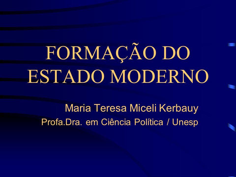 FORMAÇÃO DO ESTADO MODERNO Maria Teresa Miceli Kerbauy Profa.Dra. em Ciência Política / Unesp