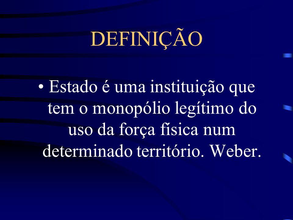 DEFINIÇÃO Estado é uma instituição que tem o monopólio legítimo do uso da força física num determinado território. Weber.