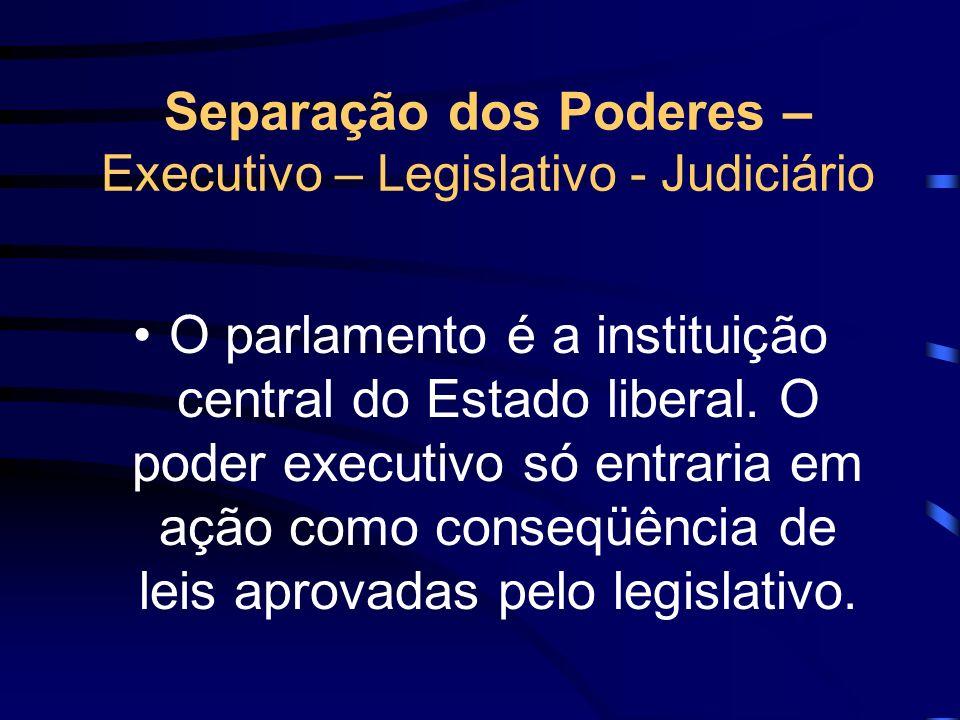 Separação dos Poderes – Executivo – Legislativo - Judiciário O parlamento é a instituição central do Estado liberal. O poder executivo só entraria em