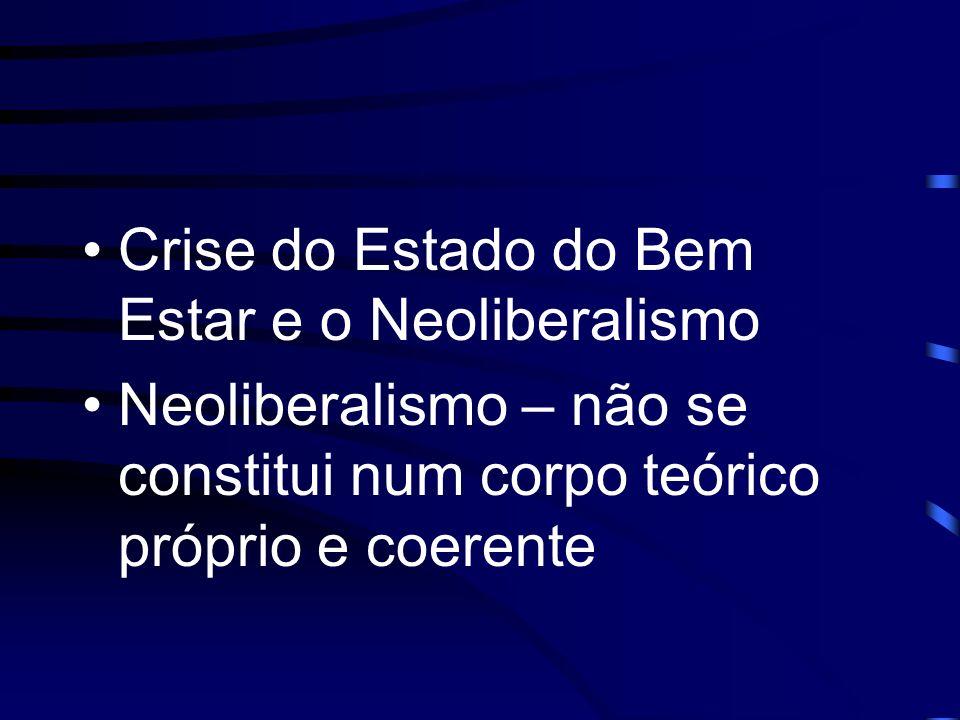 Crise do Estado do Bem Estar e o Neoliberalismo Neoliberalismo – não se constitui num corpo teórico próprio e coerente