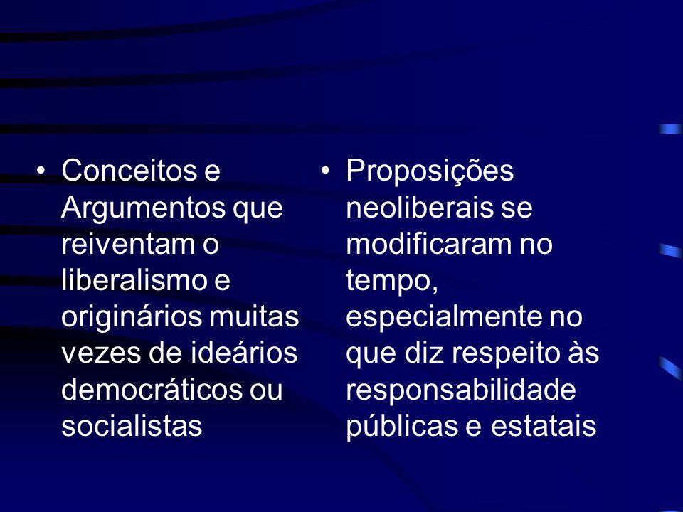Conceitos e Argumentos que reiventam o liberalismo e originários muitas vezes de ideários democráticos ou socialistas Proposições neoliberais se modif