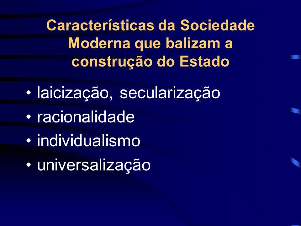 Características da Sociedade Moderna que balizam a construção do Estado laicização, secularização racionalidade individualismo universalização