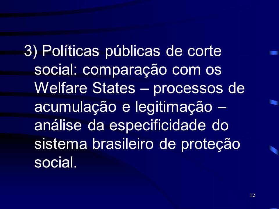12 3) Políticas públicas de corte social: comparação com os Welfare States – processos de acumulação e legitimação – análise da especificidade do sist