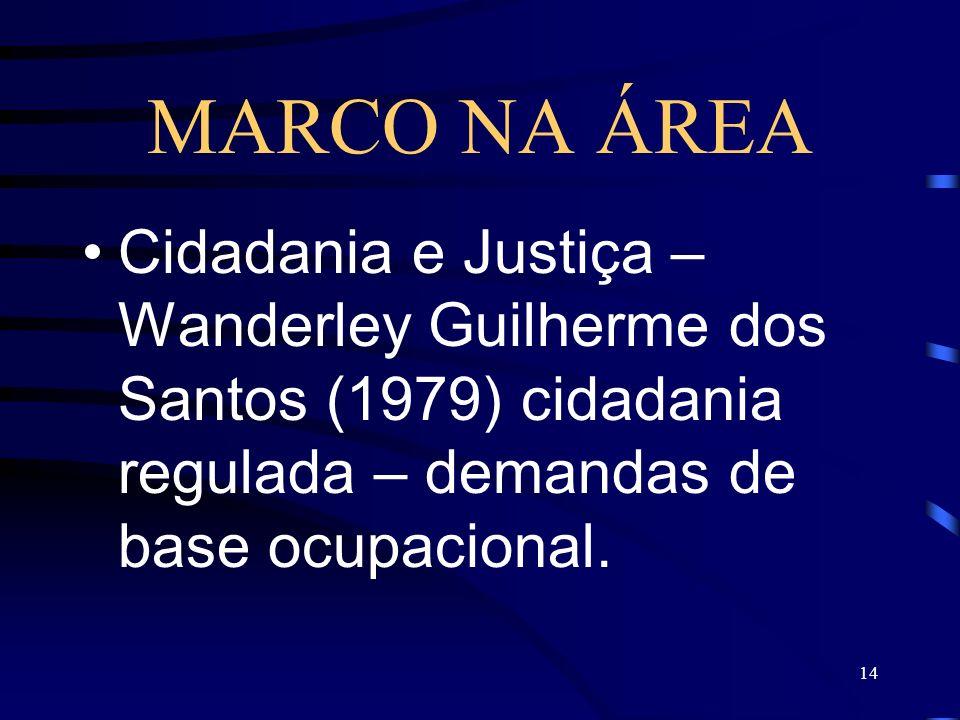 14 MARCO NA ÁREA Cidadania e Justiça – Wanderley Guilherme dos Santos (1979) cidadania regulada – demandas de base ocupacional.