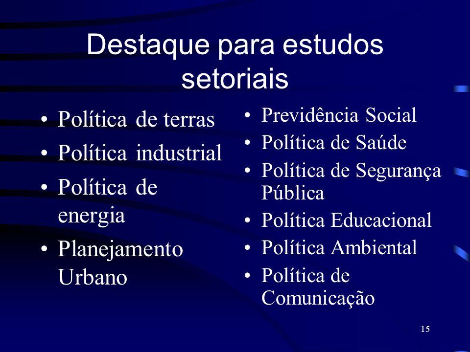 15 Destaque para estudos setoriais Política de terras Política industrial Política de energia Planejamento Urbano Previdência Social Política de Saúde