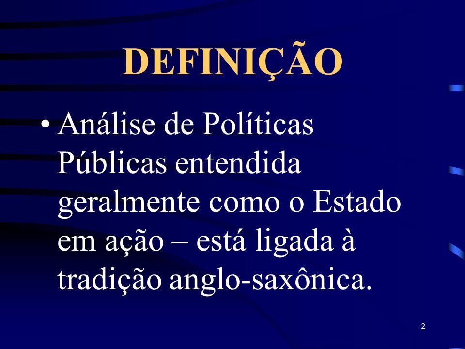 2 DEFINIÇÃO Análise de Políticas Públicas entendida geralmente como o Estado em ação – está ligada à tradição anglo-saxônica.
