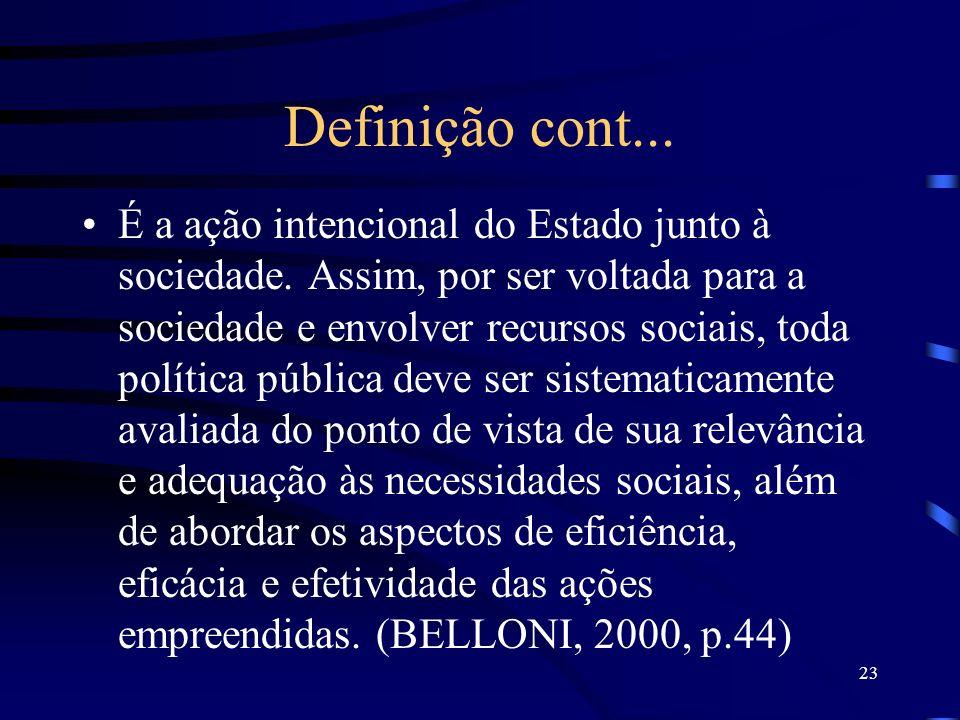 23 Definição cont... É a ação intencional do Estado junto à sociedade. Assim, por ser voltada para a sociedade e envolver recursos sociais, toda polít