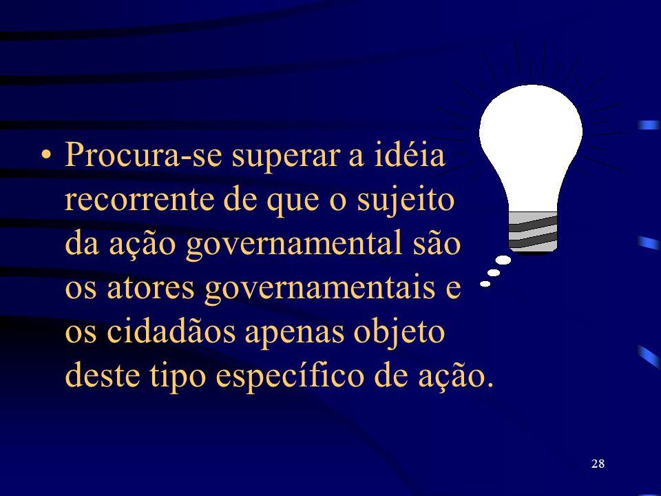 28 Procura-se superar a idéia recorrente de que o sujeito da ação governamental são os atores governamentais e os cidadãos apenas objeto deste tipo es