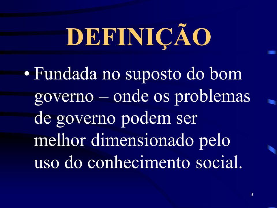 3 DEFINIÇÃO Fundada no suposto do bom governo – onde os problemas de governo podem ser melhor dimensionado pelo uso do conhecimento social.