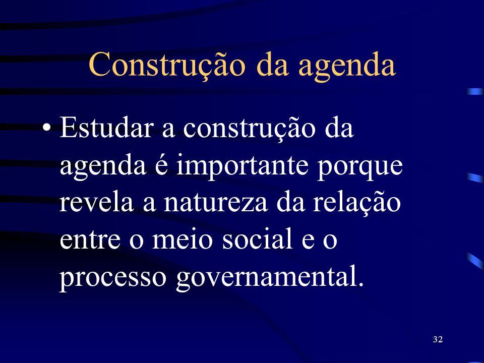 32 Construção da agenda Estudar a construção da agenda é importante porque revela a natureza da relação entre o meio social e o processo governamental