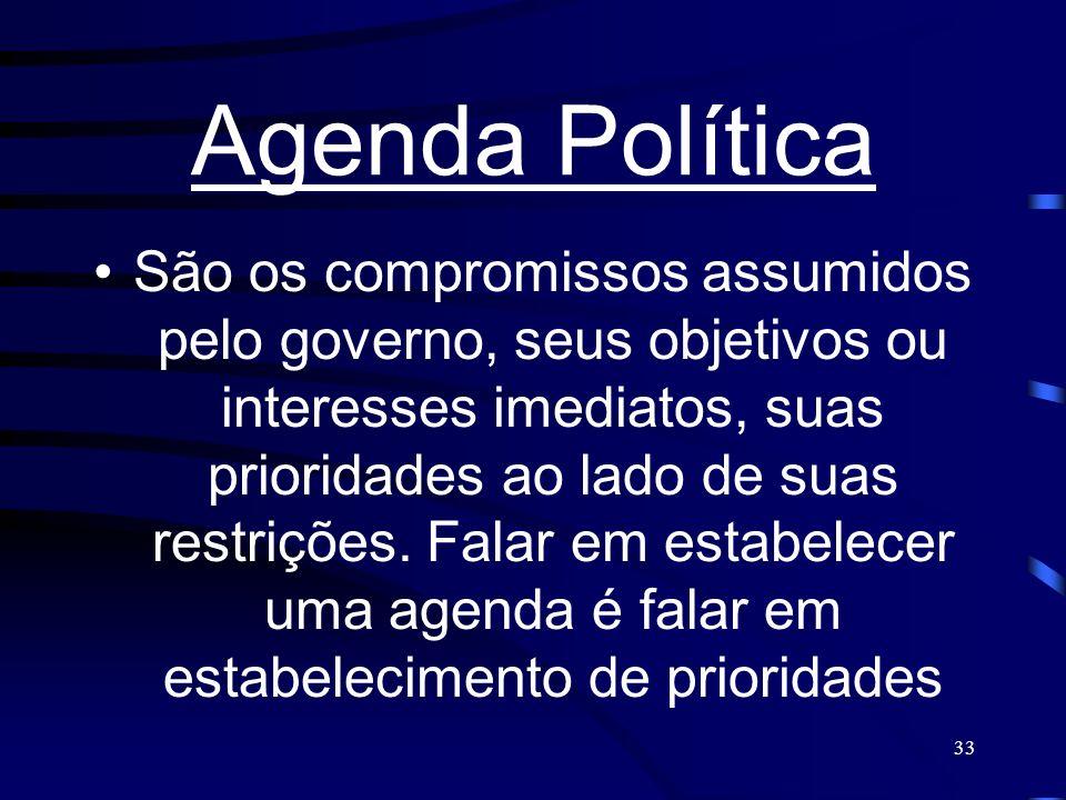 33 Agenda Política São os compromissos assumidos pelo governo, seus objetivos ou interesses imediatos, suas prioridades ao lado de suas restrições. Fa