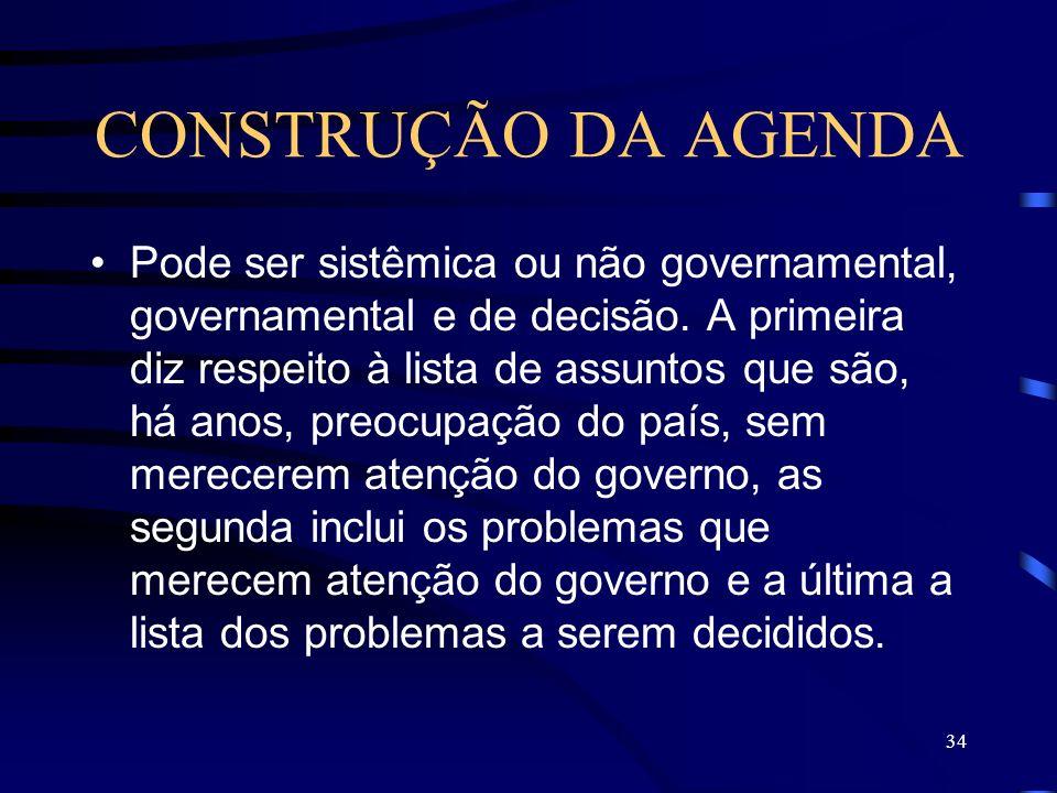 34 CONSTRUÇÃO DA AGENDA Pode ser sistêmica ou não governamental, governamental e de decisão. A primeira diz respeito à lista de assuntos que são, há a