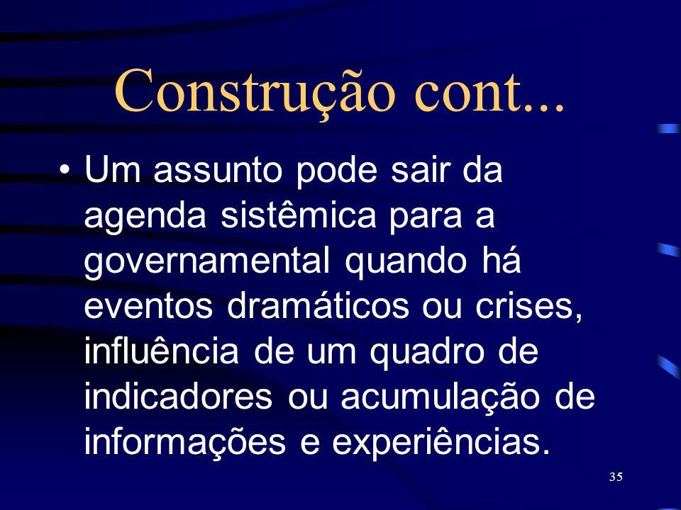35 Construção cont... Um assunto pode sair da agenda sistêmica para a governamental quando há eventos dramáticos ou crises, influência de um quadro de