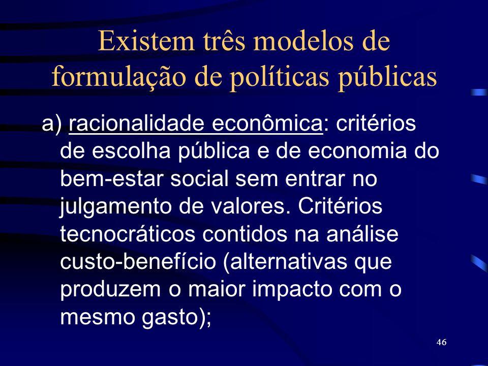 46 Existem três modelos de formulação de políticas públicas a) racionalidade econômica: critérios de escolha pública e de economia do bem-estar social