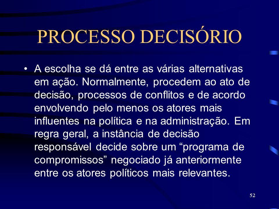 52 PROCESSO DECISÓRIO A escolha se dá entre as várias alternativas em ação. Normalmente, procedem ao ato de decisão, processos de conflitos e de acord