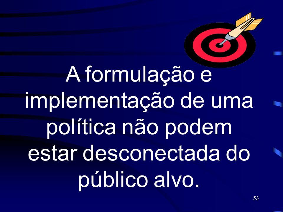 53 A formulação e implementação de uma política não podem estar desconectada do público alvo.